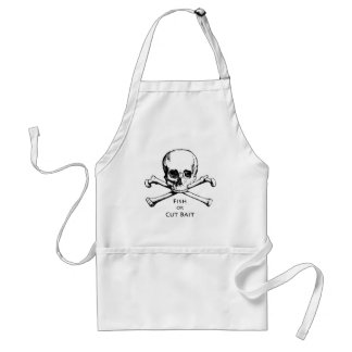 """Fish or Cut Bait"" Jolly Roger Pirate Logo Adult Apron"