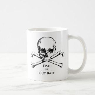 """Fish or Cut Bait"" Jolly Roger Pirate Logo Classic White Coffee Mug"