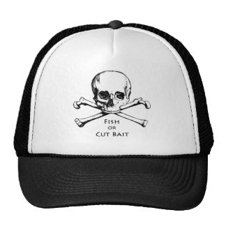 """Fish or Cut Bait"" Jolly Roger Pirate Logo Trucker Hat"