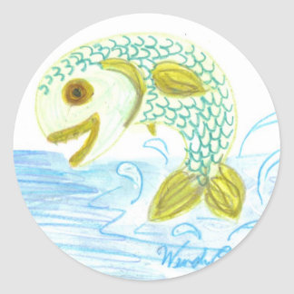 Fish Out of Water Classic Round Sticker