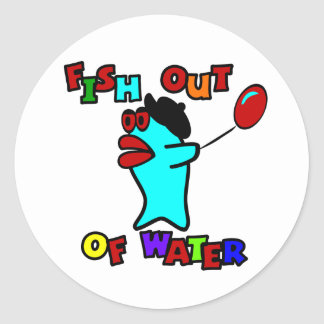 Fish Out Of Water With Billy, The Standing Fish Classic Round Sticker