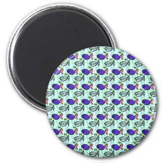 Fish Pattern. Blue Fish Ghost Fish. 2 Inch Round Magnet