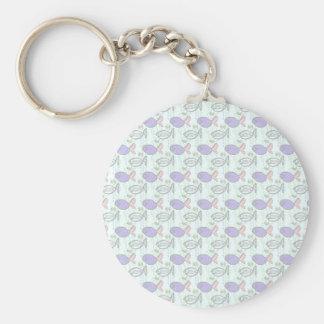Fish Pattern. Blue Fish Ghost Fish. Basic Round Button Keychain