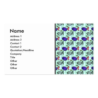 Fish Pattern. Blue Fish Ghost Fish. Business Card