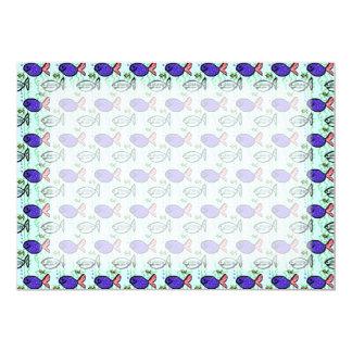 Fish Pattern. Blue Fish Ghost Fish. Card