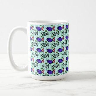 Fish Pattern. Blue Fish Ghost Fish. Coffee Mug