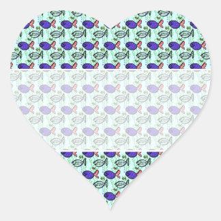 Fish Pattern. Blue Fish Ghost Fish. Heart Sticker