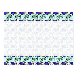 Fish Pattern. Blue Fish Ghost Fish. Postcard