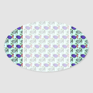 Fish Pattern. Blue Fish Ghost Fish. Oval Stickers