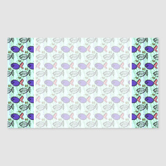 Fish Pattern. Blue Fish Ghost Fish. Stickers