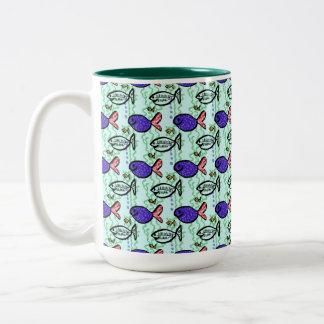 Fish Pattern. Blue Fish Ghost Fish. Two-Tone Coffee Mug