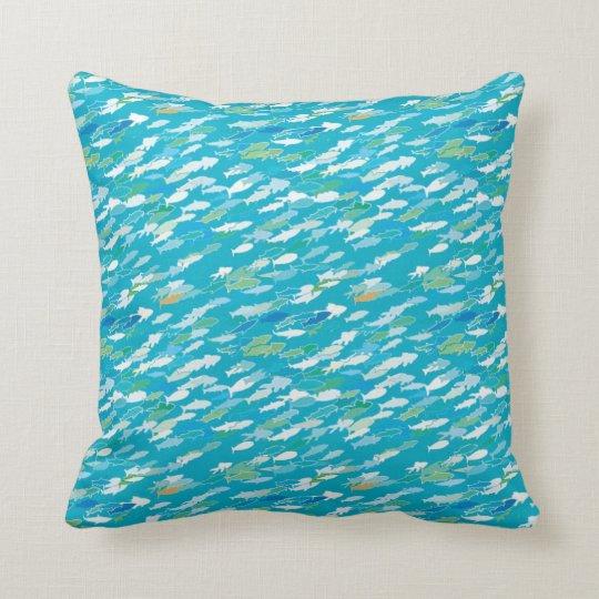 Fish pattern blue white green throw pillow for Fish throw pillows