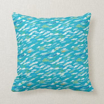 Beach Themed Fish pattern, blue, white, green throw pillow