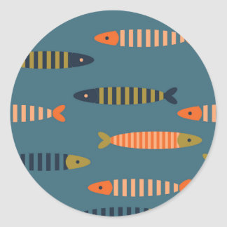 Fish pattern. Ocean life Classic Round Sticker