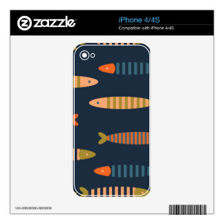 Fish pattern. Ocean life Decals For iPhone 4