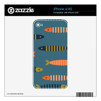 Fish pattern. Ocean life Decals For The iPhone 4S