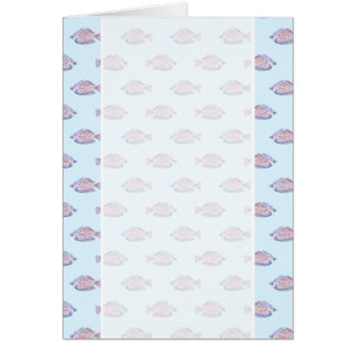 Fish Pattern on Blue. Red Line Rainbowfish. Card