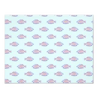 Fish Pattern on Blue. Red Line Rainbowfish. Card