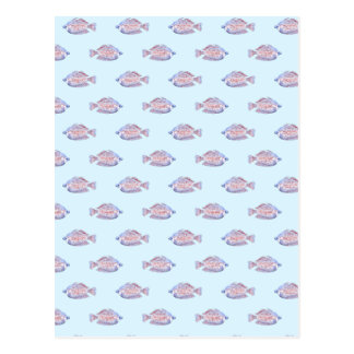 Fish Pattern on Blue. Red Line Rainbowfish. Postcard