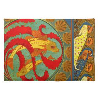 Fish Peacock Art Nouveau design Elements Fabric Placemat