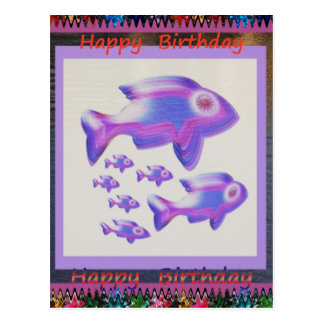 FISH Pet Aquarium Decorations KIDS Room Fun GIFTS Postcard