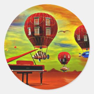 Fish piano surreal classic round sticker