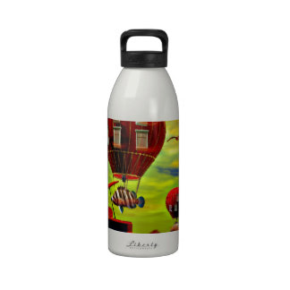 Fish piano surreal drinking bottle