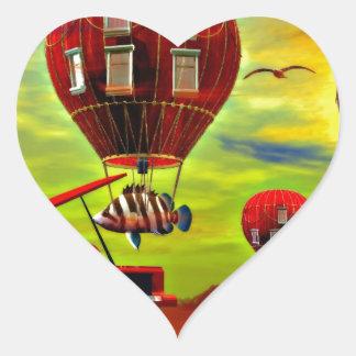 Fish piano surreal heart sticker