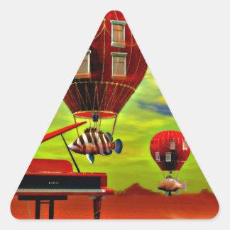 Fish piano surreal triangle sticker
