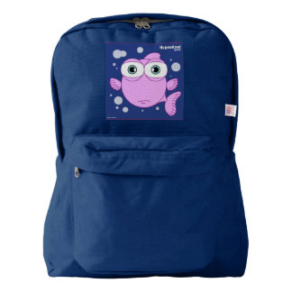 Fish(Pink) Backpack, Navy Backpack
