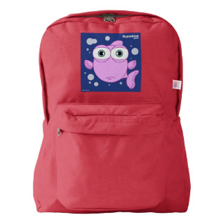 Fish(Pink) Backpack, Red American Apparel™ Backpack
