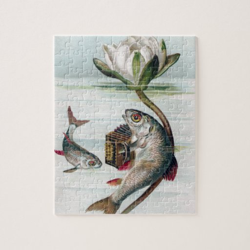 Fish Playing Accordion and Water Lily Puzzle