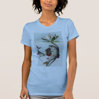 Fish Playing Accordion and Water Lily T-Shirt
