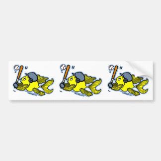 Fish Playing Baseball - Cute Funny Cartoon Bumper Sticker