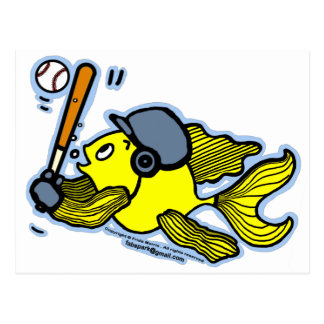 Fish Playing Baseball - Cute Funny Cartoon Postcard
