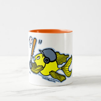 Fish Playing Baseball - Cute Funny Cartoon Two-Tone Coffee Mug