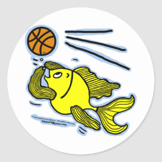 Fish Playing Basketball Stickers