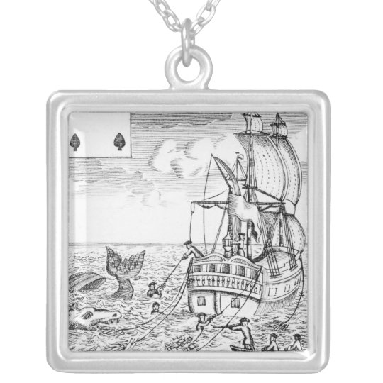 Fish Pool playing card Silver Plated Necklace