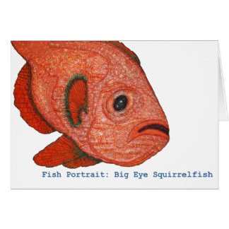 Fish Portrait: Big Eye Squirrelfish Note Card