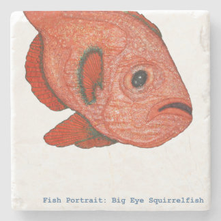 Fish Portrait: Big Eye Squirrelfish Stone Coaster
