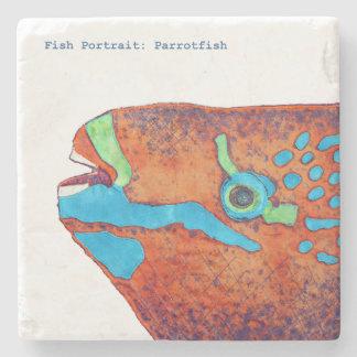 Fish Portrait: Parrotfish Stone Coaster