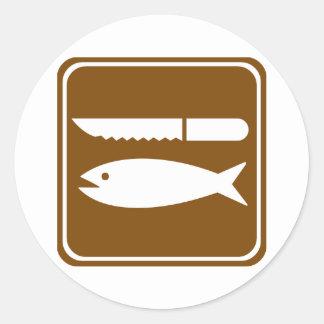 Fish Preparation Highway Sign Round Sticker