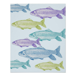 Fish print in blues, purple and green