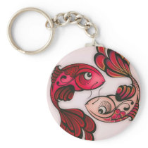 fish printed button keychain