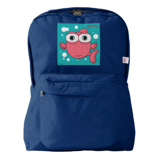 Fish(Red) Backpack, Navy Backpack