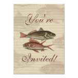 fish red perch Vintage fisherman gift Personalized Invites