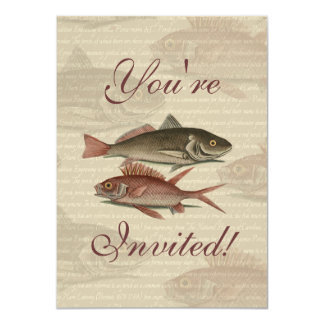 fish red perch Vintage fisherman gift 4.5x6.25 Paper Invitation Card