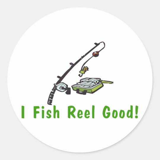 Fish Reel Good Classic Round Sticker