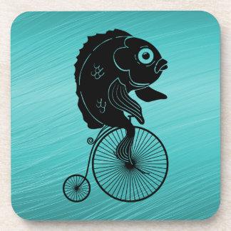 Fish Riding a Bike Beverage Coaster