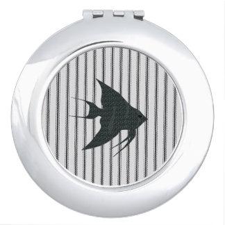 """FISH"" * ROUND_Black/white ticking/black fish Compact Mirror"